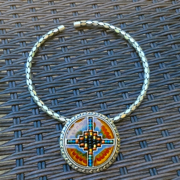 Chicos collar necklace tribal beaded pendant